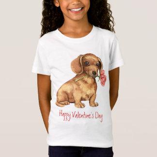 バレンタインのばら色のダックスフント Tシャツ
