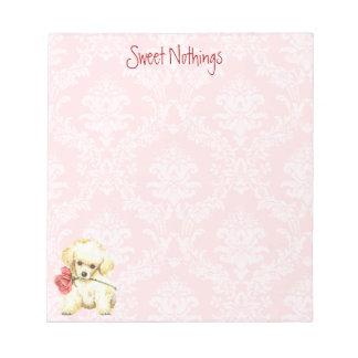 バレンタインのばら色のトイプードル ノートパッド