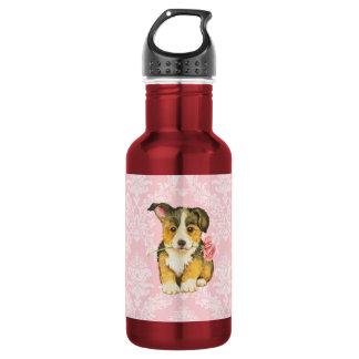 バレンタインのばら色のペンブロークのウェルシュコーギー ウォーターボトル