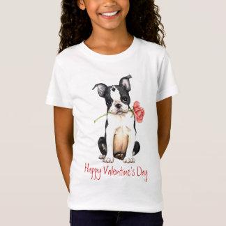 バレンタインのばら色のボストンテリア Tシャツ