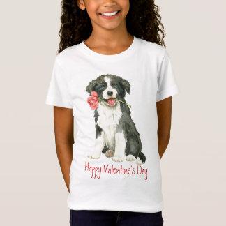 バレンタインのばら色のボーダーコリー Tシャツ