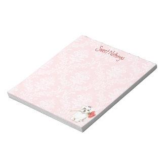 バレンタインのばら色のマルチーズ ノートパッド