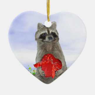 バレンタインのアライグマの強盗(w/Background) セラミックオーナメント