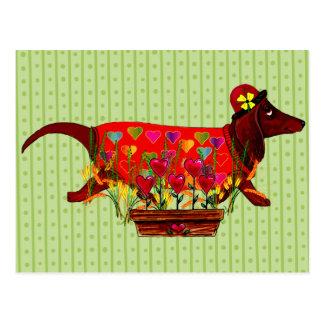 バレンタインのウィーナー犬 ポストカード