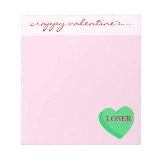 バレンタインのカードおよびギフトは敗者のためです ノートパッド