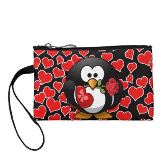 バレンタインのギフトを持つ愛ペンギン コインパース