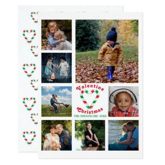 バレンタインのクリスマスのミントのハート8の写真のコラージュ カード