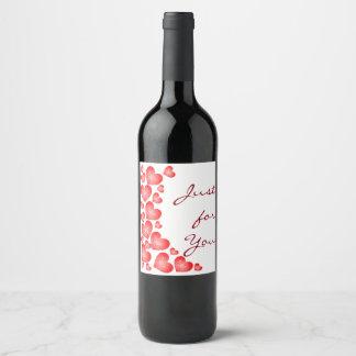 バレンタインのスターバストの赤いハート ワインラベル