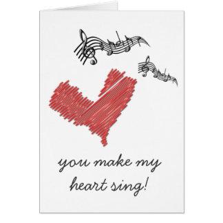 バレンタインのノート、私のハートを歌わせます! カード