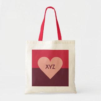 バレンタインのハートのカスタムなモノグラムのバッグ トートバッグ