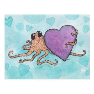 バレンタインのハートのタコ ポストカード