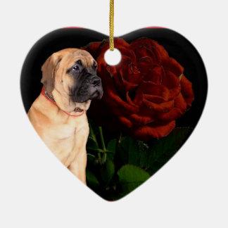 バレンタインのハートのマスティフの子犬のオーナメント セラミックオーナメント