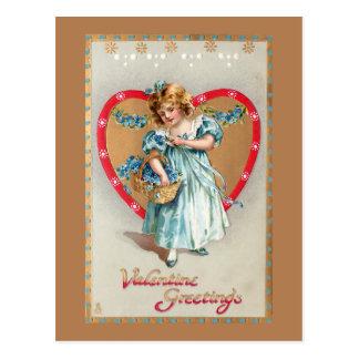 バレンタインのハートのヴィンテージの子供 ポストカード