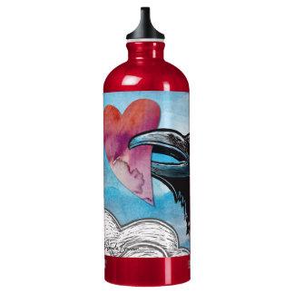 バレンタインのハートの水差し-ワタリガラス/カラス ウォーターボトル