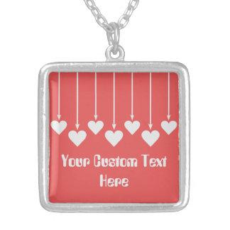 バレンタインのハートカスタムな色のネックレス シルバープレートネックレス