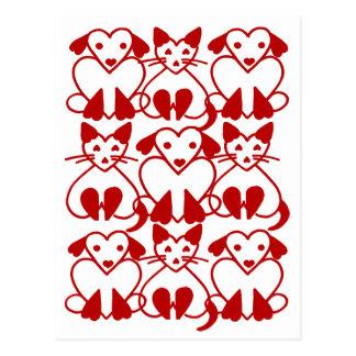バレンタインのハート猫及び犬ピンクの赤いペット郵便はがき ポストカード