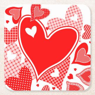 バレンタインのハート スクエアペーパーコースター