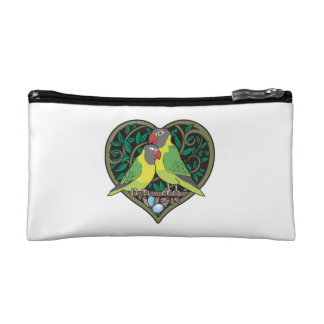 バレンタインのハート: ロマンチックな愛鳥の抱き締めること コスメティックバッグ