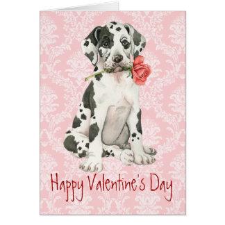 バレンタインのバラのグレートデーン カード