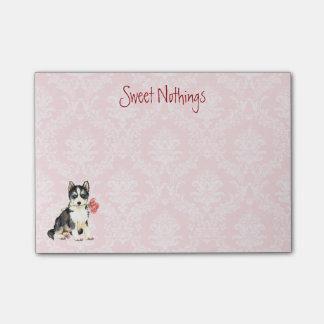 バレンタインのバラのハスキー ポスト・イット®ノート