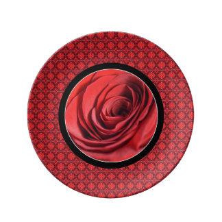 バレンタインのバラのプレート 磁器プレート