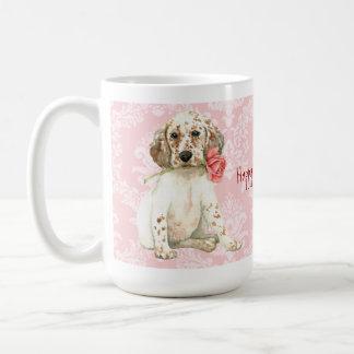 バレンタインのバラの英国セッター コーヒーマグカップ