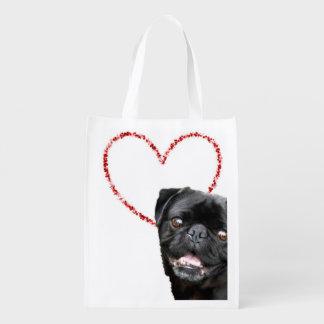 バレンタインのパグ犬 エコバッグ