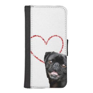 バレンタインのパグ犬 iPhoneSE/5/5sウォレットケース