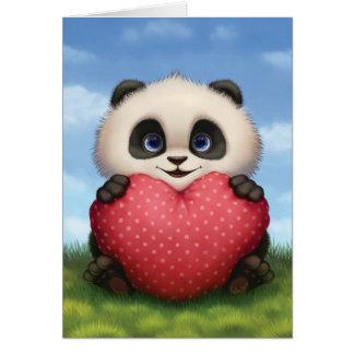 バレンタインのパンダ カード