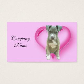 バレンタインのピットブルの子犬 名刺