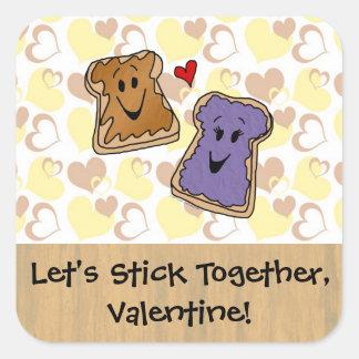 バレンタインのピーナッツバターおよびゼリー スクエアシール