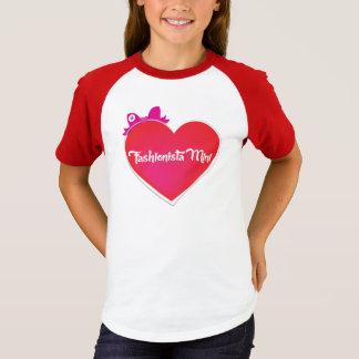 バレンタインのファッショニスタ小型ソフトボールの女の子のティー Tシャツ