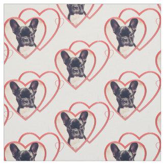 バレンタインのフレンチ・ブルドッグの子犬パターン生地 ファブリック