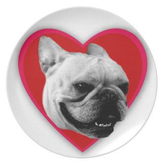 バレンタインのフレンチ・ブルドッグ ディナー皿