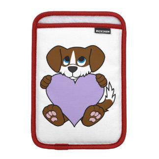 バレンタインのブラウン犬-炎及び薄紫のハート iPad MINIスリーブ