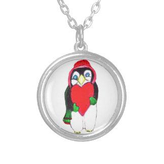 バレンタインのペンギンのネックレス シルバープレートネックレス