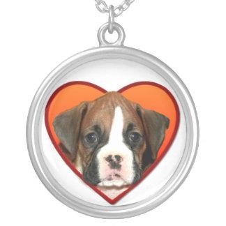 バレンタインのボクサーの子犬 シルバープレートネックレス