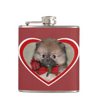 バレンタインのポメラニア犬の子犬のフラスコ フラスク