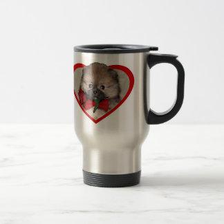 バレンタインのポメラニア犬の子犬 トラベルマグ