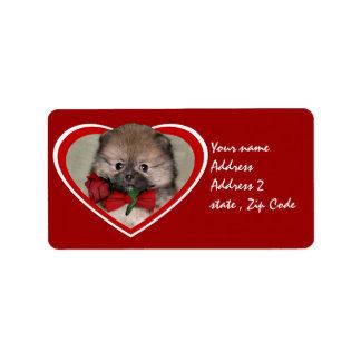 バレンタインのポメラニア犬の子犬 ラベル