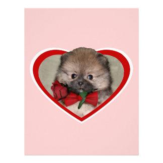 バレンタインのポメラニア犬の子犬 レターヘッド
