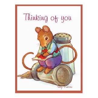 バレンタインのマウスのラブレター ポストカード