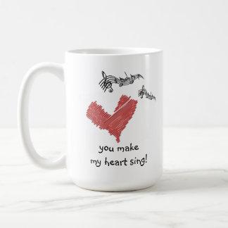 バレンタインのマグ、私のハートを歌わせます! コーヒーマグカップ