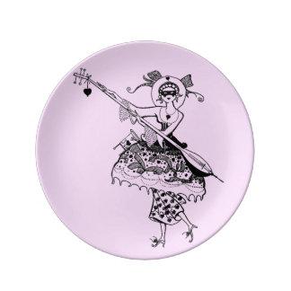 バレンタインの仮面舞踏会のヴィンテージのぼろぼろのグラフィックアート 磁器プレート