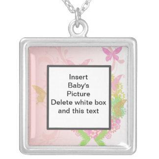 バレンタインの写真のネックレスの花及び蝶 シルバープレートネックレス