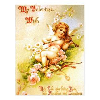 バレンタインの天使のバイオリンのヴィンテージの郵便はがきのキューピッドの芸術 ポストカード