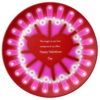 バレンタインの心拍の大皿 磁器プレート