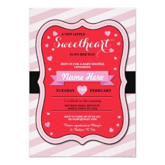 バレンタインの恋人のベビーシャワーの女の子愛招待 カード