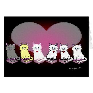 バレンタインの猫ちゃんの続けて挨拶状 カード