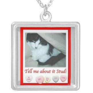バレンタインの白黒猫 シルバープレートネックレス